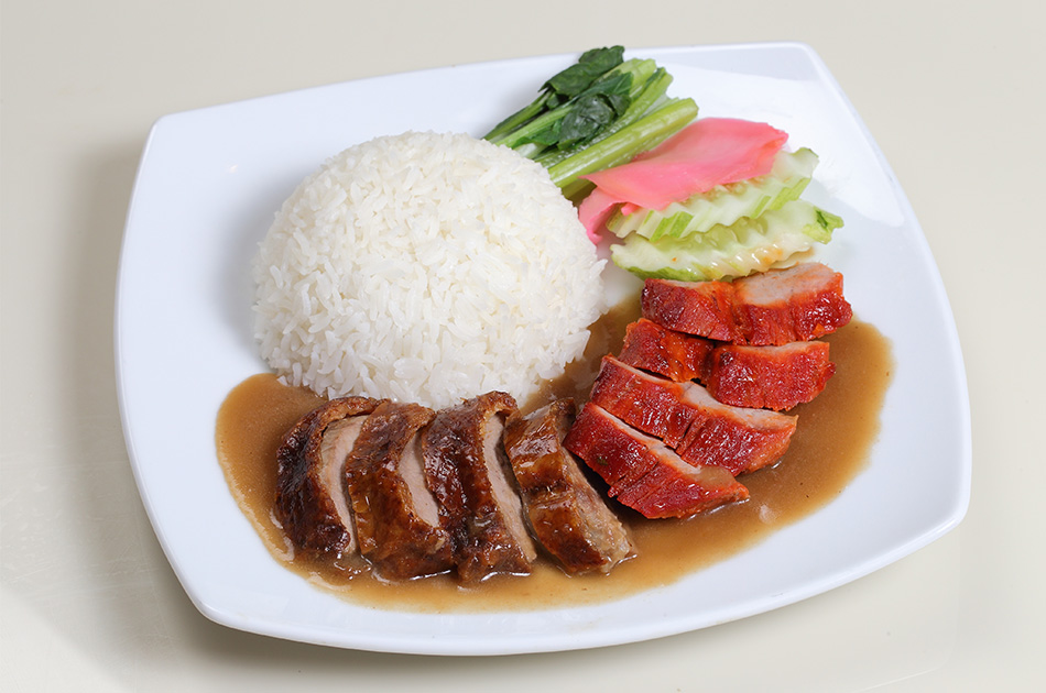 "Roasted duck & ""Char Siew"" Hong Kong BBQ pork with rice: 170 Baht"